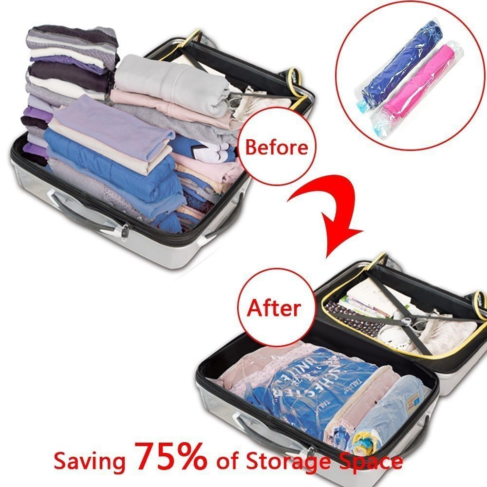 5 Pack Homca Hand Roll Up Vacuum Compression Saving Bags For Travel Rolling Compressed Bag And Home Clothes Storage
