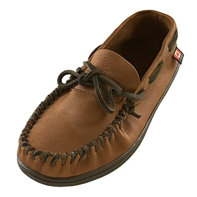 Wakonsun Men's Wide Width Brown Genuine Leather Loafer Moccasin Shoes   Loafers & Slip-Ons
