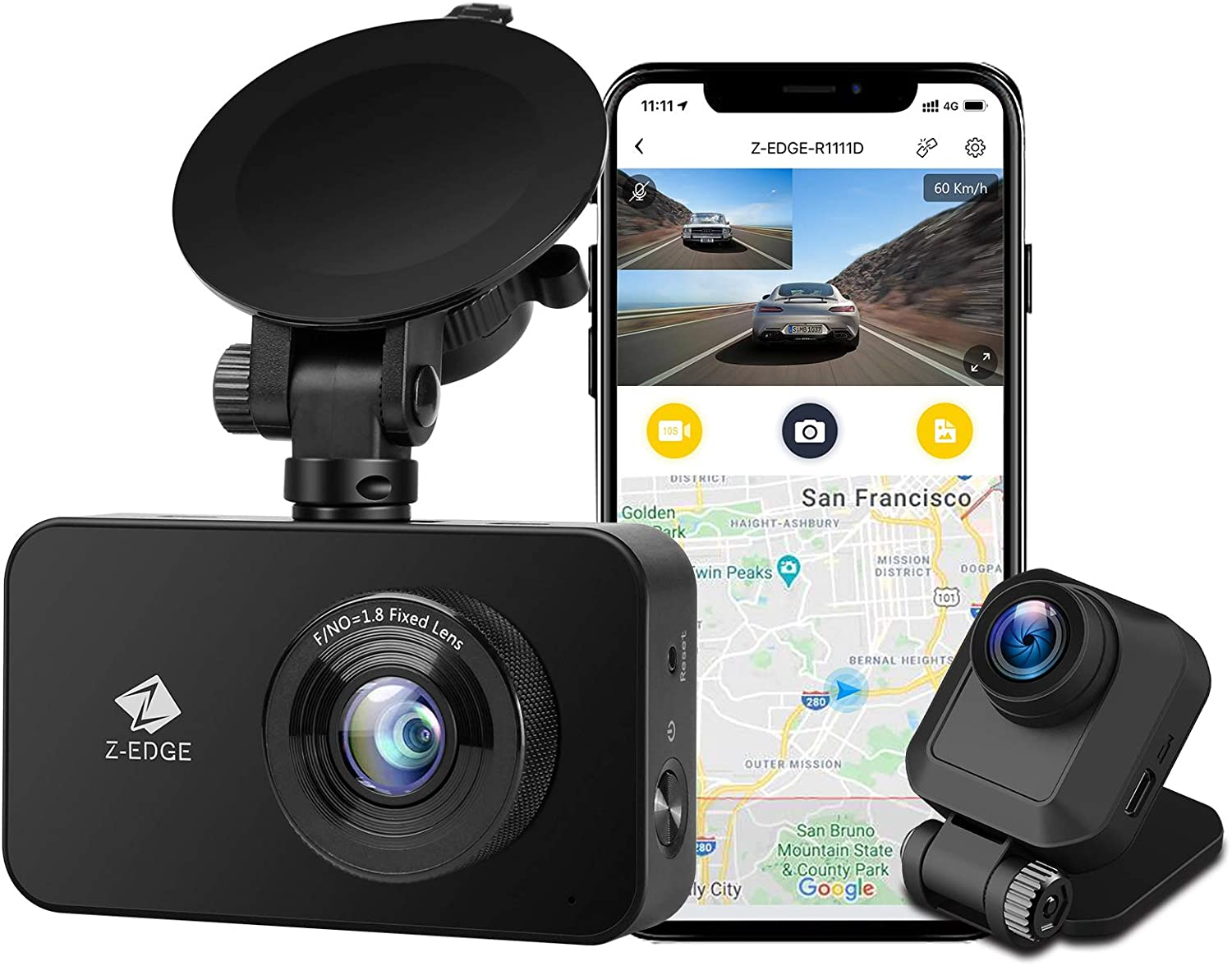 Z-Edge Dual Dash Cam Built-in Wi-Fi, Dual 1920x1080P FHD, Front and Rear Dash Cam with WDR, Night Vision, Parking Mode, G-Sensor, Loop Recording, Support 256GB Max