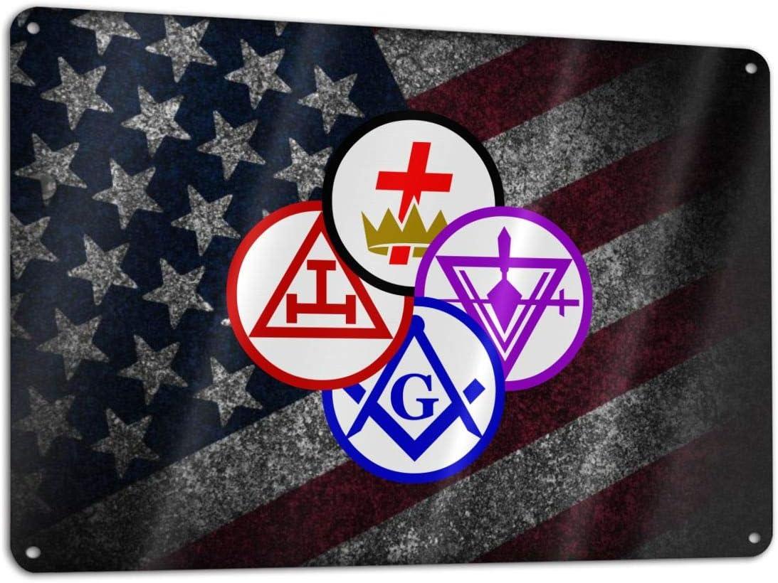 CHANGQUDD Masonic York Rite Degrees Metal Courtyard Logo, Home, Courtyard, Hotel Decor, 11.8 X 7.9 Inches Rust-Free Aluminum