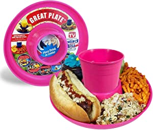 GREAT PLATE Kids Plates Adult Food Tray and Beverage Holder for Parties, Reusable, Heavy Duty and BPA Free Plastic, 10 Inch (Pink 6 Pack) Dishwasher Safe
