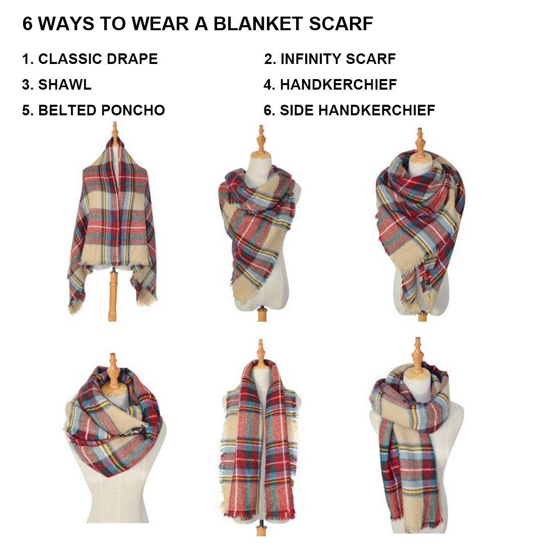 Women's Cozy Tartan Blanket Scarf Wrap Shawl Neck Stole Warm Plaid Checked Pashmina (Cream Color White)