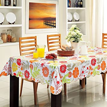 ColorBird Summer And Spring Tablecloth Colorful Flower Flannel Backed Easy  Care Waterproof PVC Table Cover For