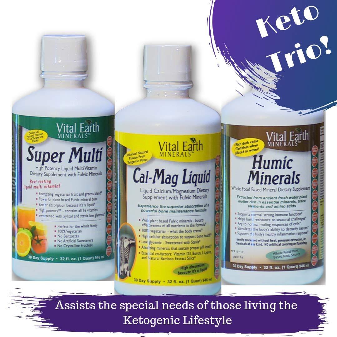 Vital Earth Minerals Keto Trio Bundle- Super Multi Liquid Vitamin- Cal-Mag Liquid - Humic Minerals - 3 liquid products - 32 fl. oz. each - 30 Day Supply - No Sugar, High Potency, Vegetarian, Ketogenic