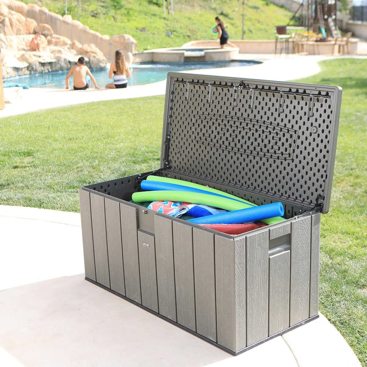 Heavy Duty, Reliable Easy Clean Large Space Versatile Lifetime Rough Cut 150-gallon Deck Box Lockable Lid with Spring Hinge Handsome Grey – Perfect For Outdoor Storage, Fun Tailgating, Picnics