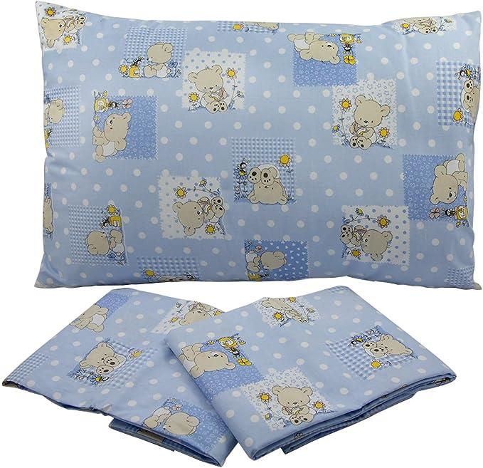 tela stampata AZZURRO COLORI ROSA//AZZURRO//VERDE fantasia Orsetto Made in Italy Lenzuolino sotto lettino con elastico MAFALDA per materasso cm.65x130