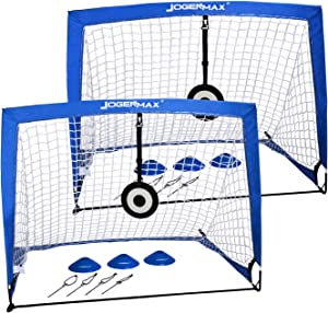 JOGENMAX Portable Soccer Goal, Pop Up Goal Nets with Aim Target,Set of 2, with Agility Training Cones,Led Lights and Portable Carrying Case for Kids & Adults Size 4'X3'X3'