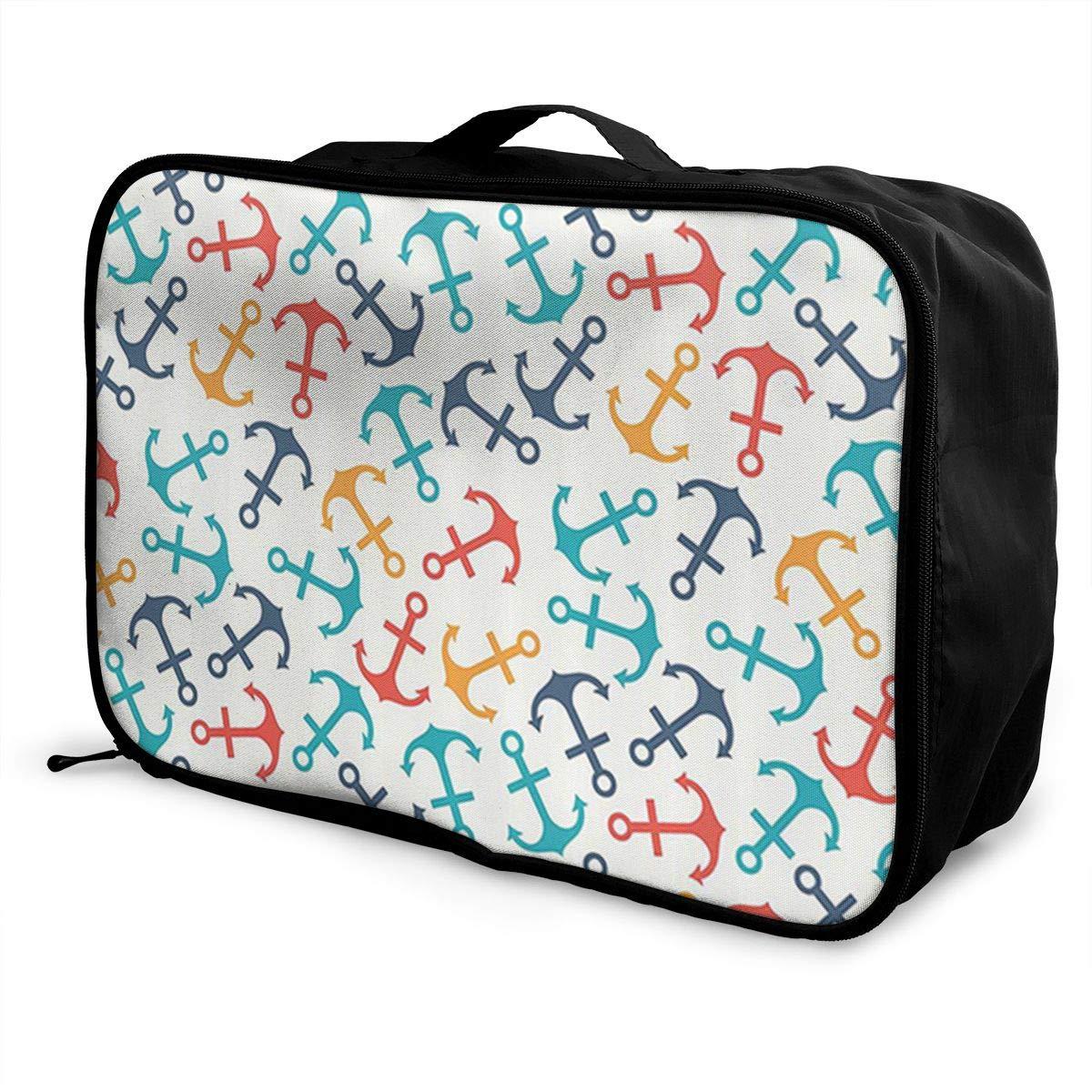 Anchor Shape in Lines Tropics Getaway Transport Decorative Canvas Travel Weekender Bag,Fashion Custom Lightweight Large Capacity Portable Luggage Bag,Suitcase Trolley Bag