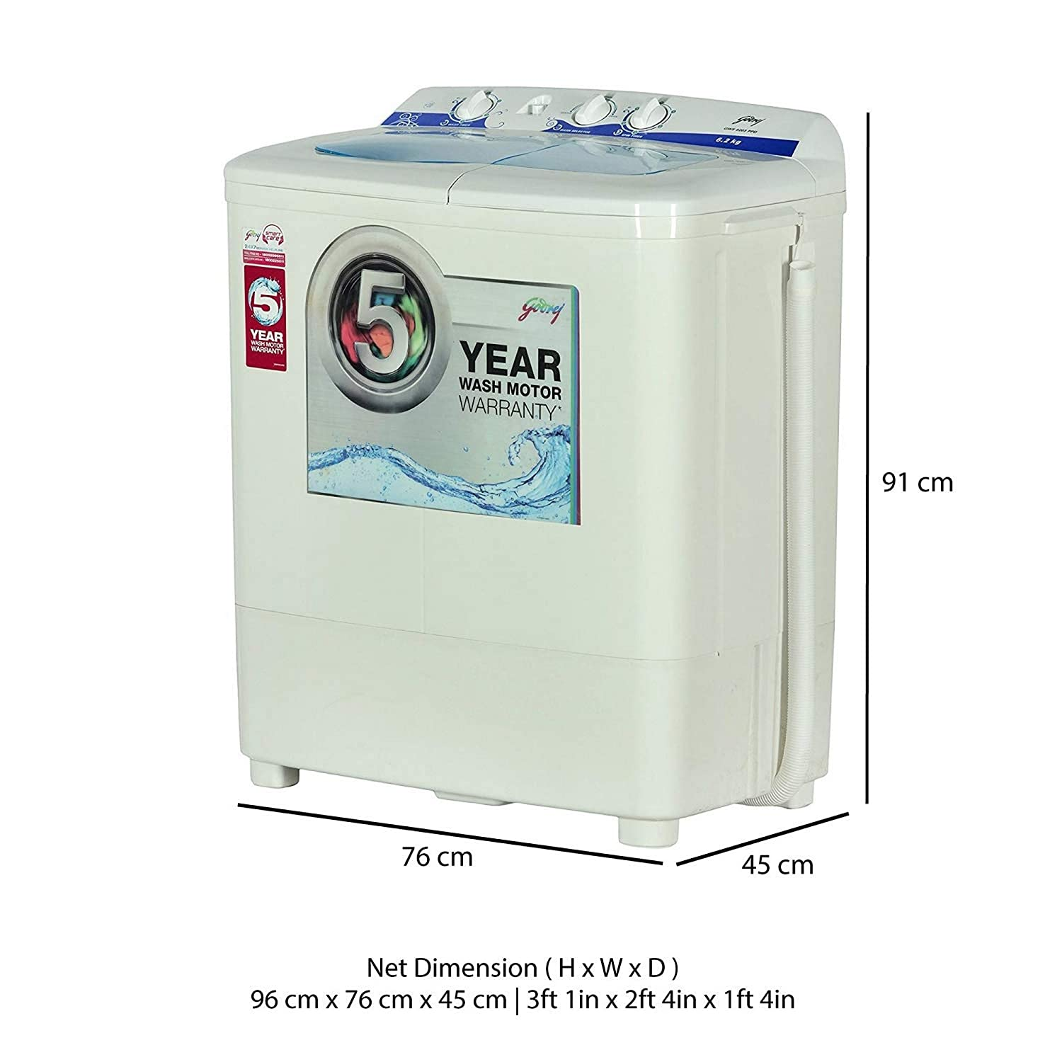 godrej 6 2 kg semi-automatic top loading washing machine (gws 6203 ppd,  white and blue): amazon in: home & kitchen