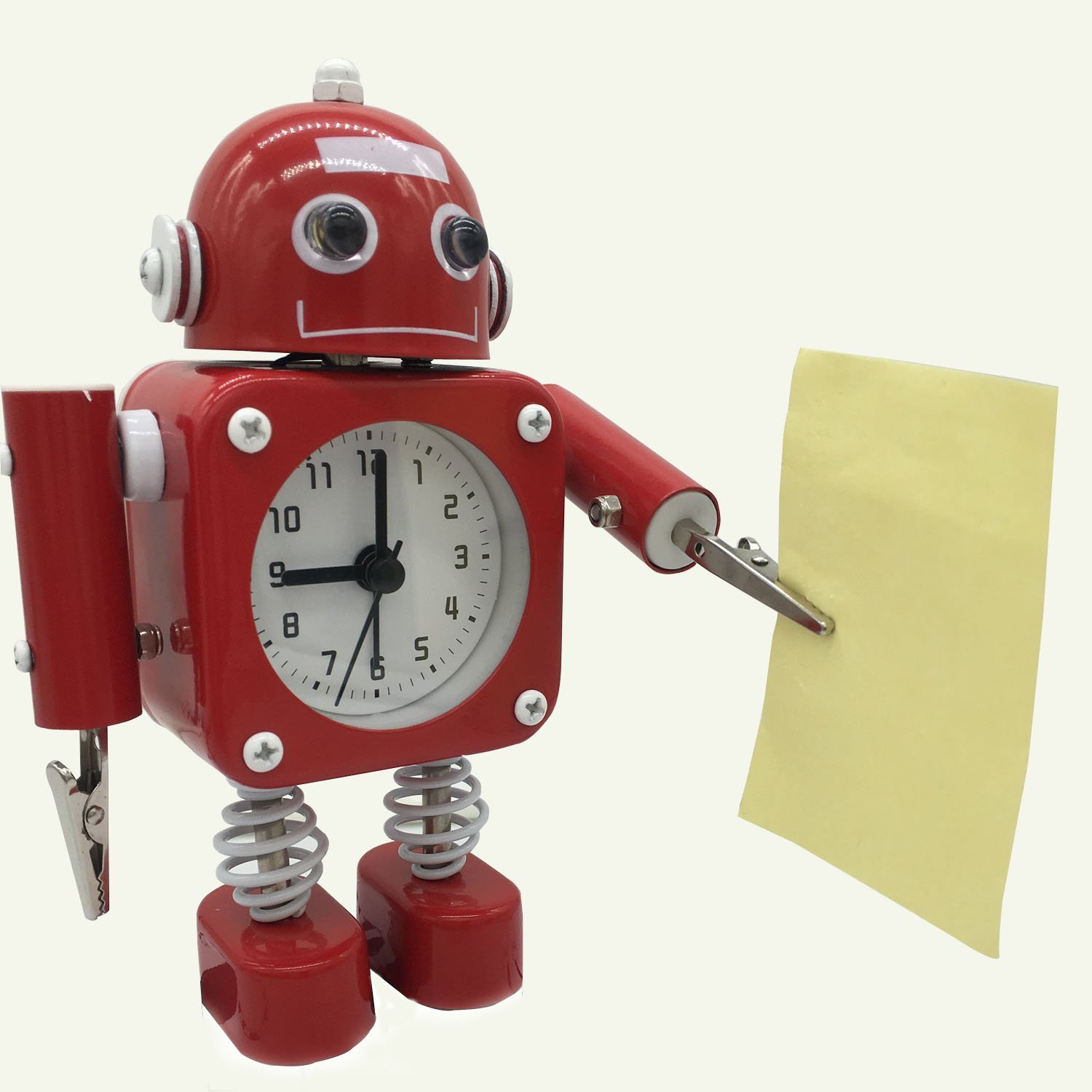 Alarm Clock Wake Up Robot Clocks for Kids with Flashing Eye and Hand Clips
