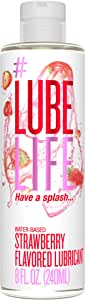 #LubeLife Strawberry Flavored Oral Use Personal Lubricant, 8 oz Sex Lube for Men, Women and Couples (Strawberry)