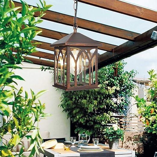 Lámpara colgante de té de aluminio forjado para exteriores, lámpara de techo creativa para cenador de jardín retro, lámpara de araña de hardware de estilo industrial europeo, IP23 a prueba d: Amazon.es: