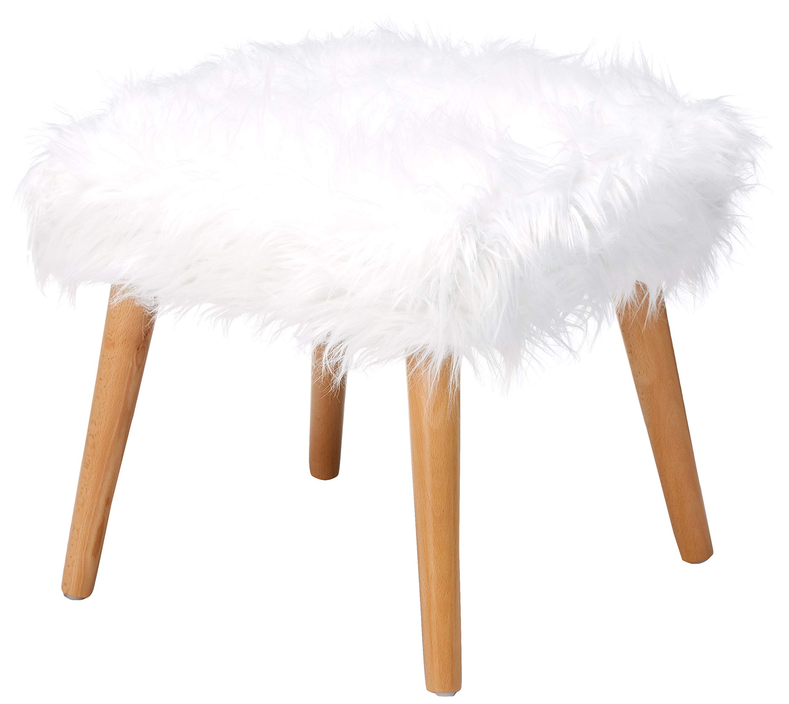 Christopher Knight Home 300444 Living Hudson Mid-Century Faux Fur Ottoman (White) by Christopher Knight Home
