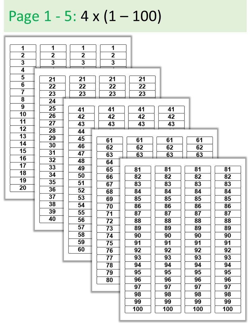 4 x (#1 - #100) in Black Ink on 1.75'' x 0.5'' Rectangle Sticker Labels: Sequentially Numbered 1-100 and Repeated 4 Times - White Matte Finish (black)