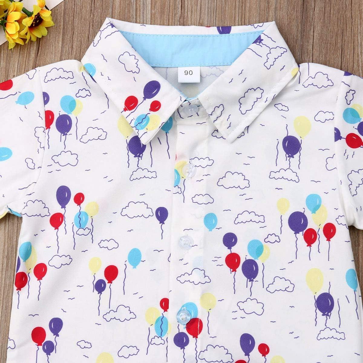 N //A Kids Toddler Baby Boys Suit Short Sleeve Balloon Printing Dress Shirt+Shorts Outfits 2Pcs Set Summer
