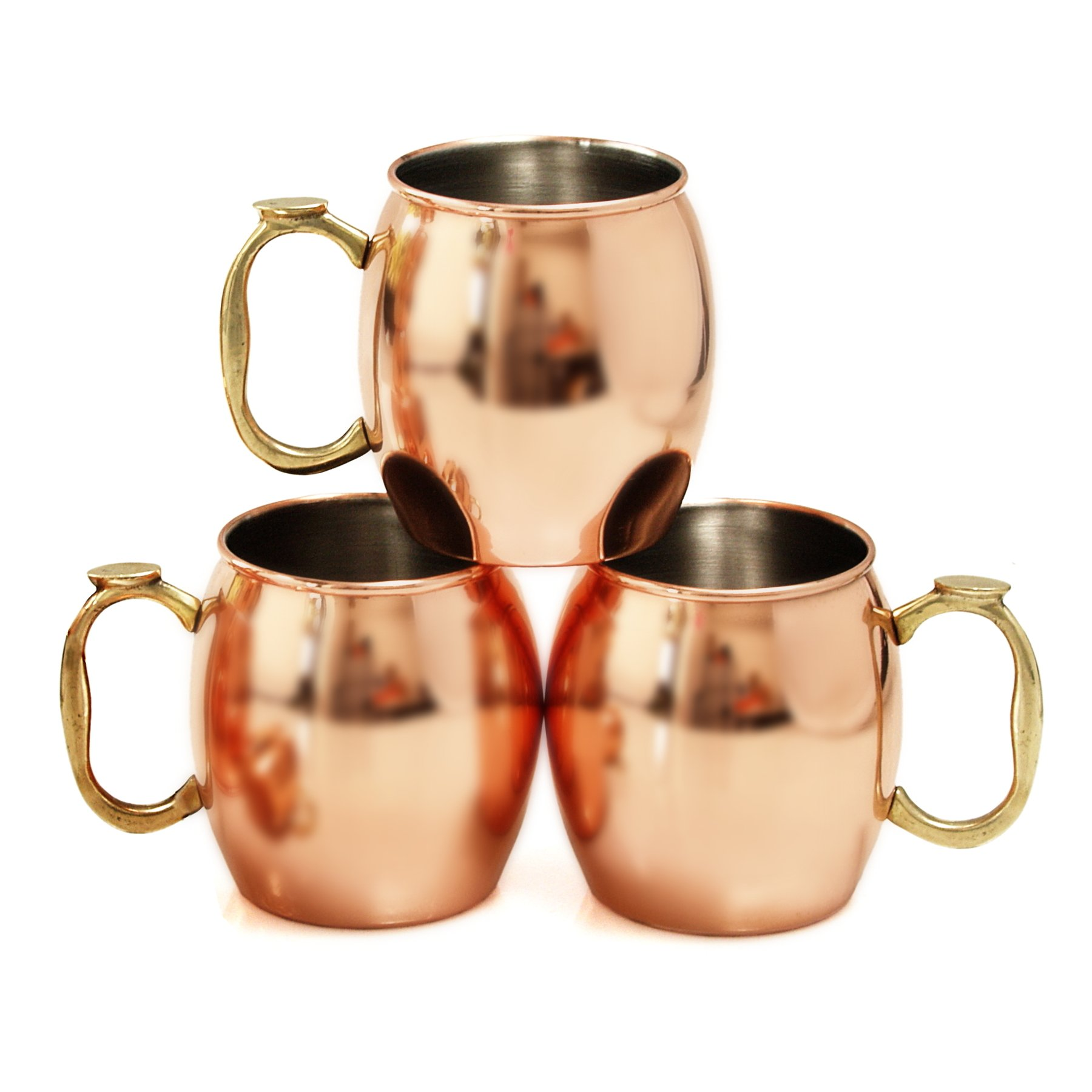 Copper-Plated 20 Ounce Moscow Mule Drinking Mug, Set of 3
