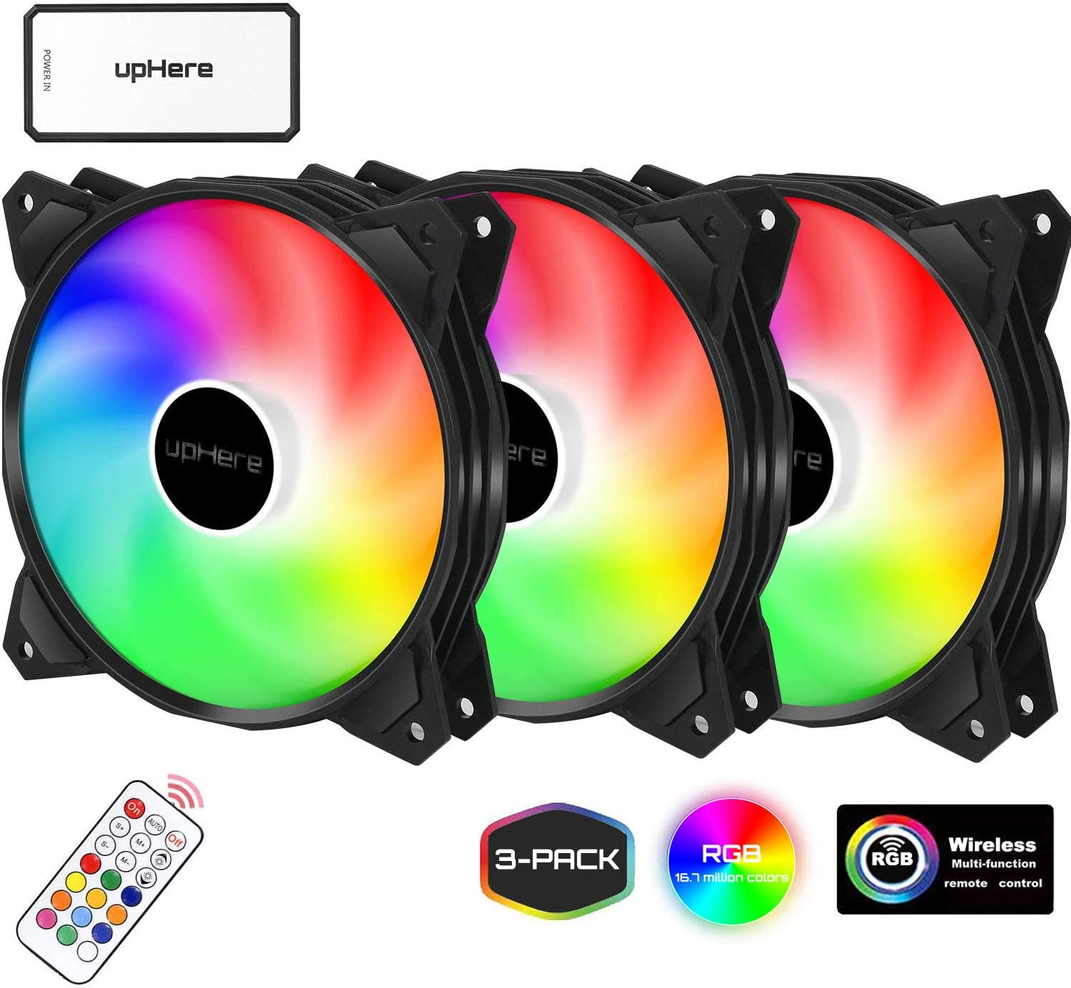 upHere 120mm Wireless 3-Pack RGB Computer Case Fan,for PC Cooling(PF1206-3)