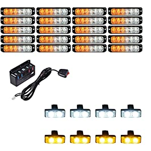 20PCS Ultra Slim 6-LED 30W Emergency Hazard Caution Surface Mount Strobe Light SYNC Pattern & 8pcs Car Truck Grille Deck Dash Flashing Light - Amber White