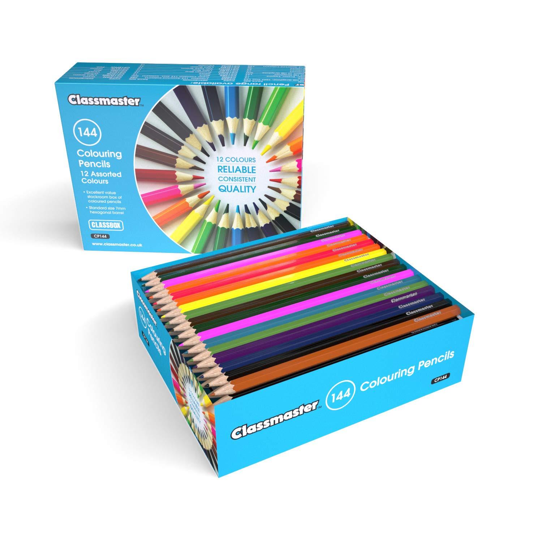 Caja de clase con 144 l/ápices de colores variados