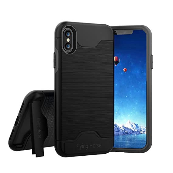 on sale 82a81 f78bb iPhone X Case with Kickstand and Card Holder,Flying Horse Slim Hybrid  Shockproof Protective Back Cover With Credit Card Slot and Built-In  Kickstand ...