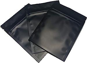 Karmay 100-3x4 Premium Smell Proof Flat Ziplock Double-Sided Reusable Metallic Foil Food Storage Bags (Matte Black)