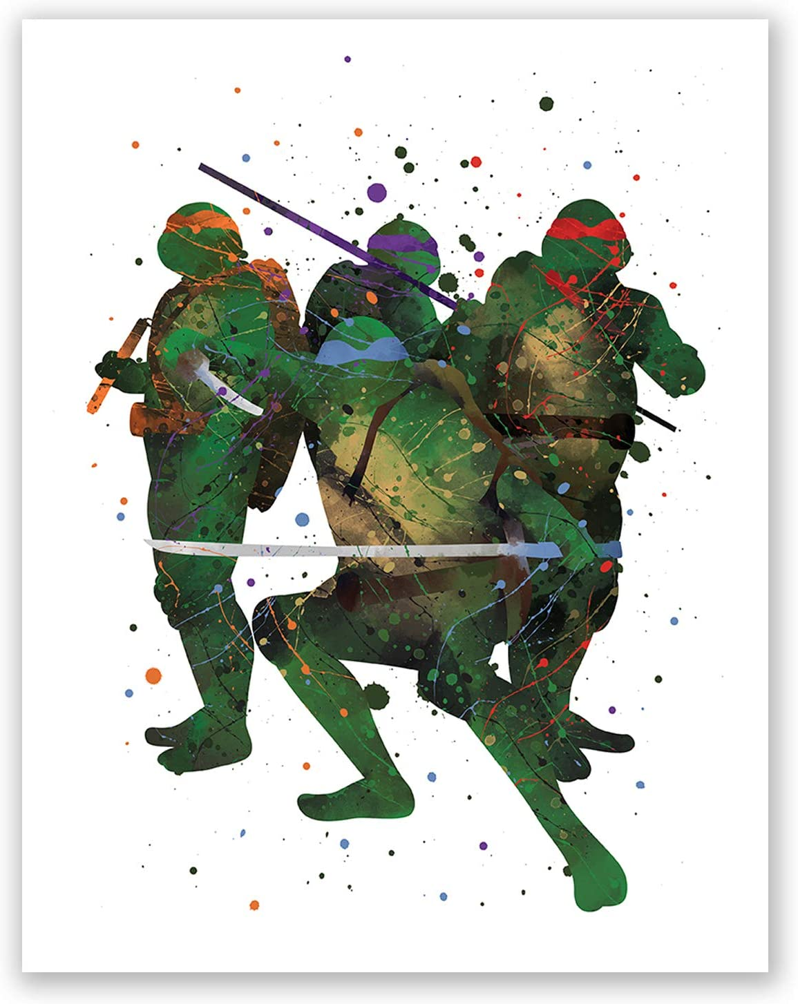PGbureau Teenage Mutant Ninja Turtles Poster – Watercolor TMNT Art Poster – Kids Room Wall Decor- Party Supplies Decoration – Nursery Artwork – Birthday (8x10)