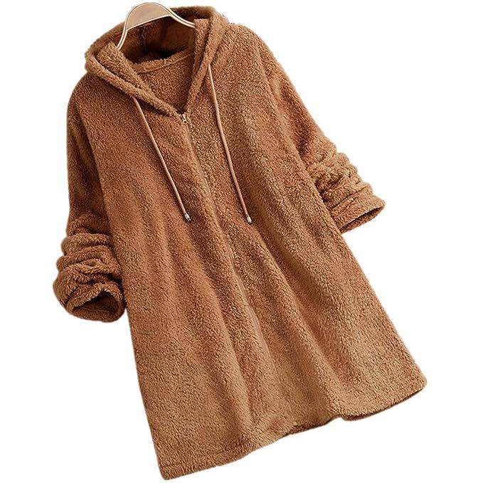 MEIbax Damen Fleece Mantel Zipper Hooded Einfarbig