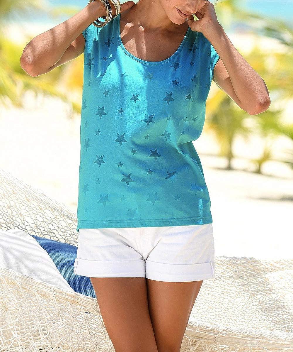 Lantch Damen T-Shirt Top Sommer Basic Kurzarm Shirts Baumwoll Tee Freizeit Oberteile