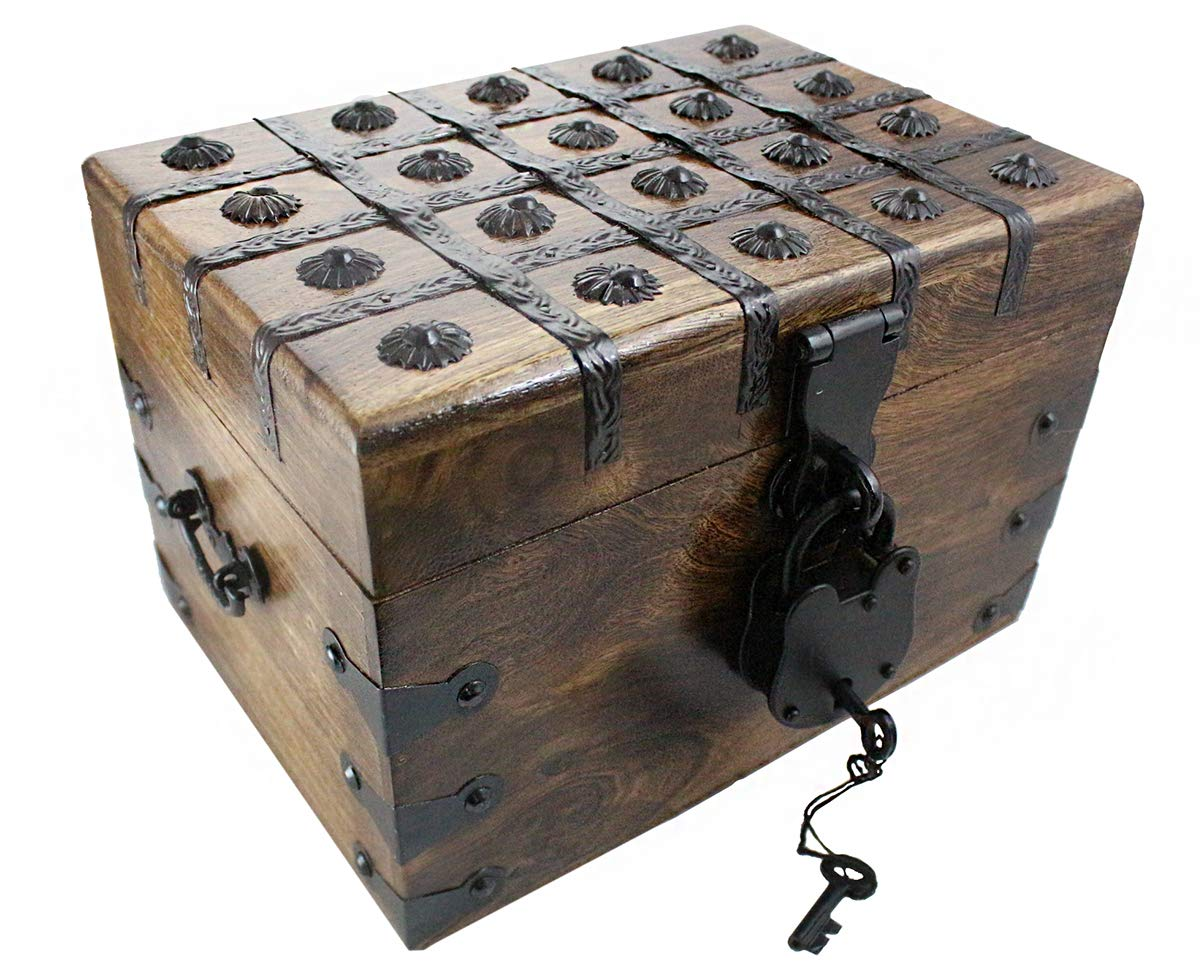 Treasure Chest Box Pirate Large 11 x 8 x 7 Wooden Locking Party Toy Nautical Accessory with Skeleton Key by Well Pack Box by Well Pack Box