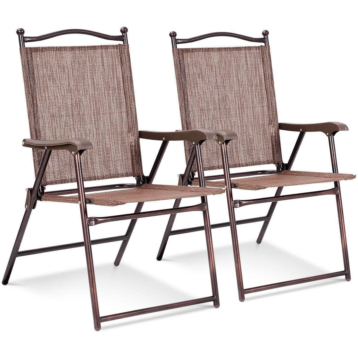 LHONE Folding Sling Back Chairs Furniture Camping Deck Garden Pool Beach (Set of 2) (Coffee)