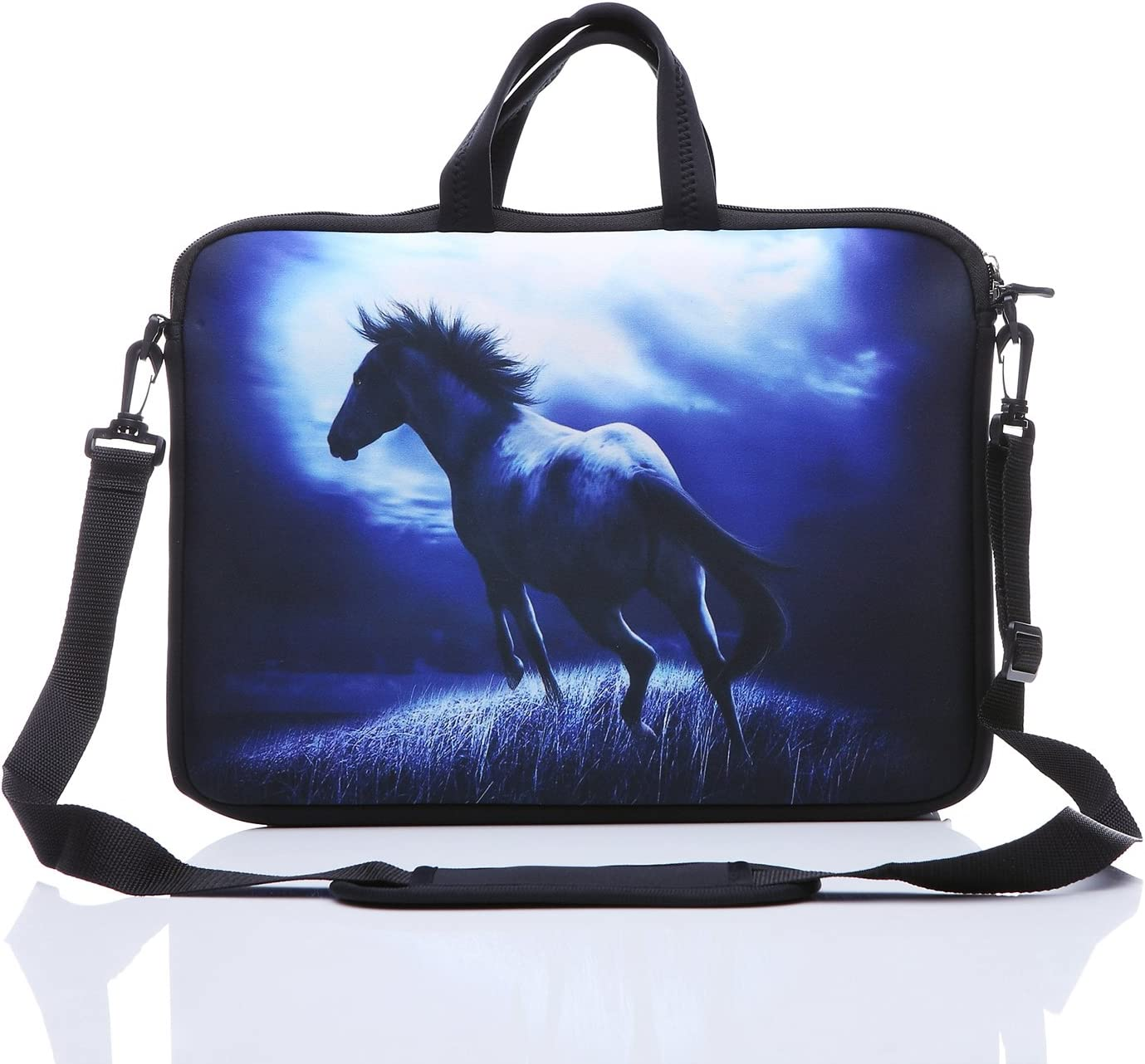 "YIDA 10-Inch Laptop Shoulder Sleeve Case and Tablet Bag for Most 9.7"" 10"" 10.1"" 10.2"" Ipad/Notebook/eBook/Readers (Blue Horse)"
