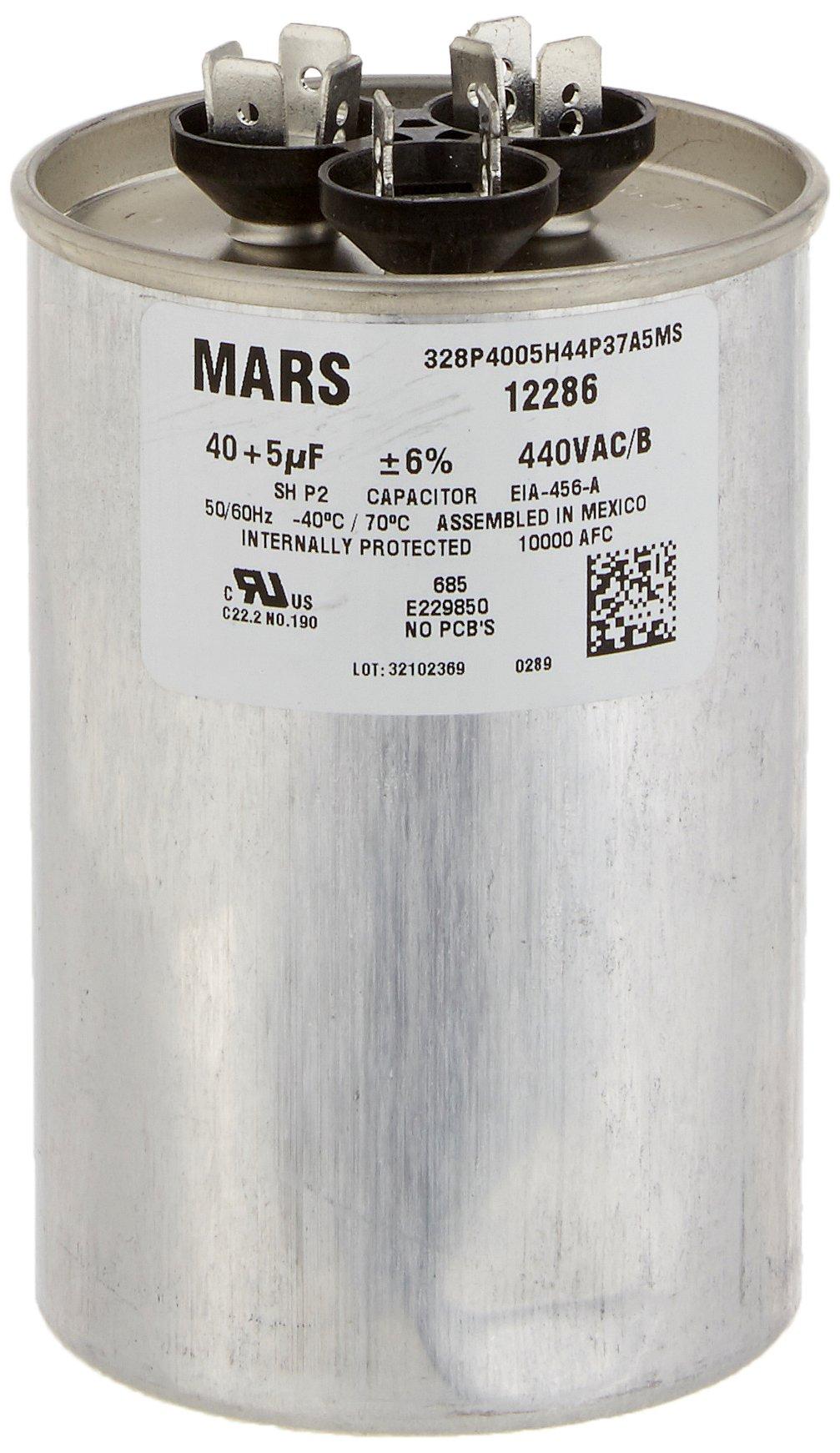 MARS - Motors & Armatures 12286 40 + 5 uF MFD x 440 VAC Genteq Replacement Dual Capacitor