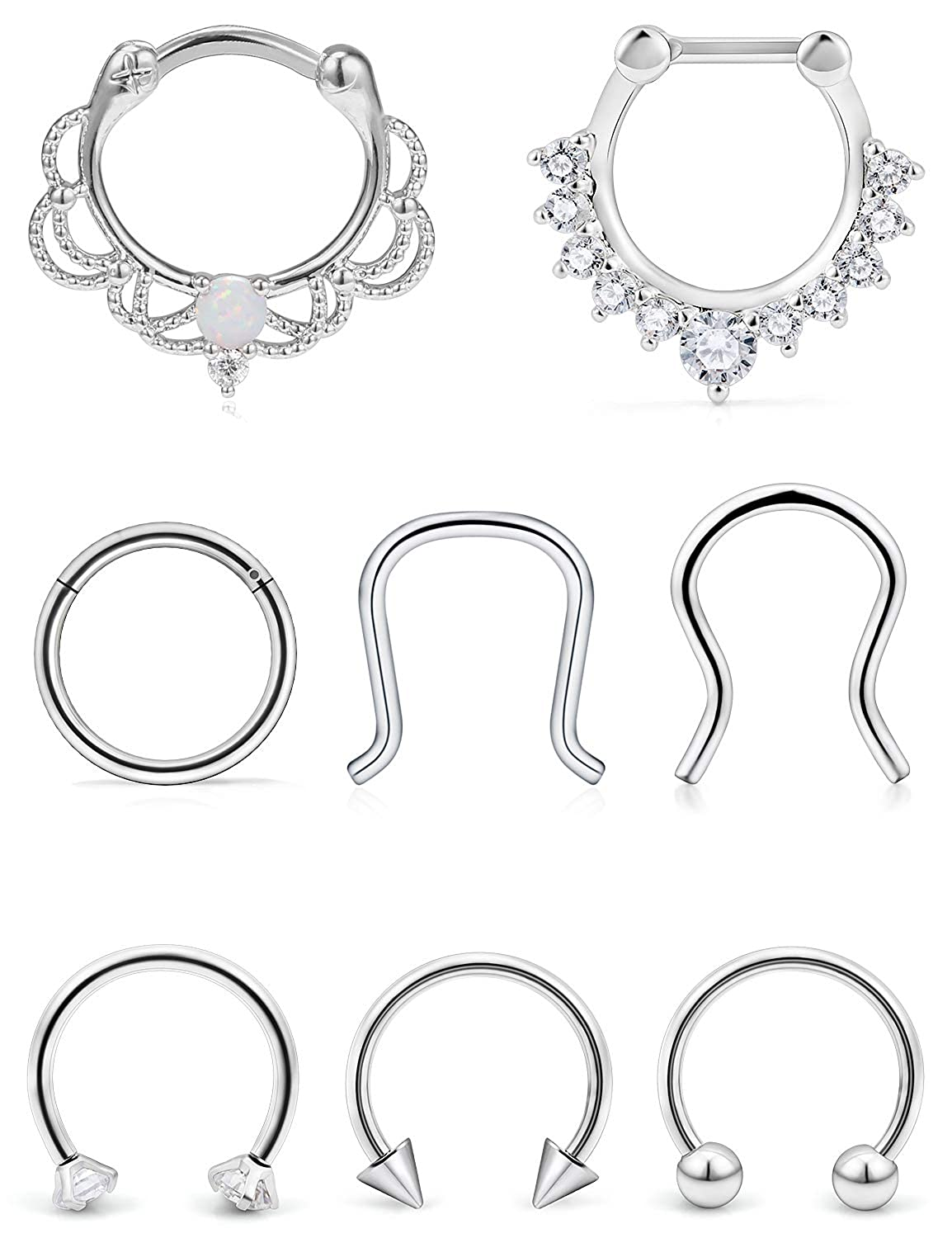 SCERRING 16G Septum Jewelry Stainless Steel Hinged Seamless Septum Nose Hoop Ring Horseshoe Rings Cartilage Daith Tragus Clicker Retainer Body Piercing Jewelry Opal CZ 8-16PCS