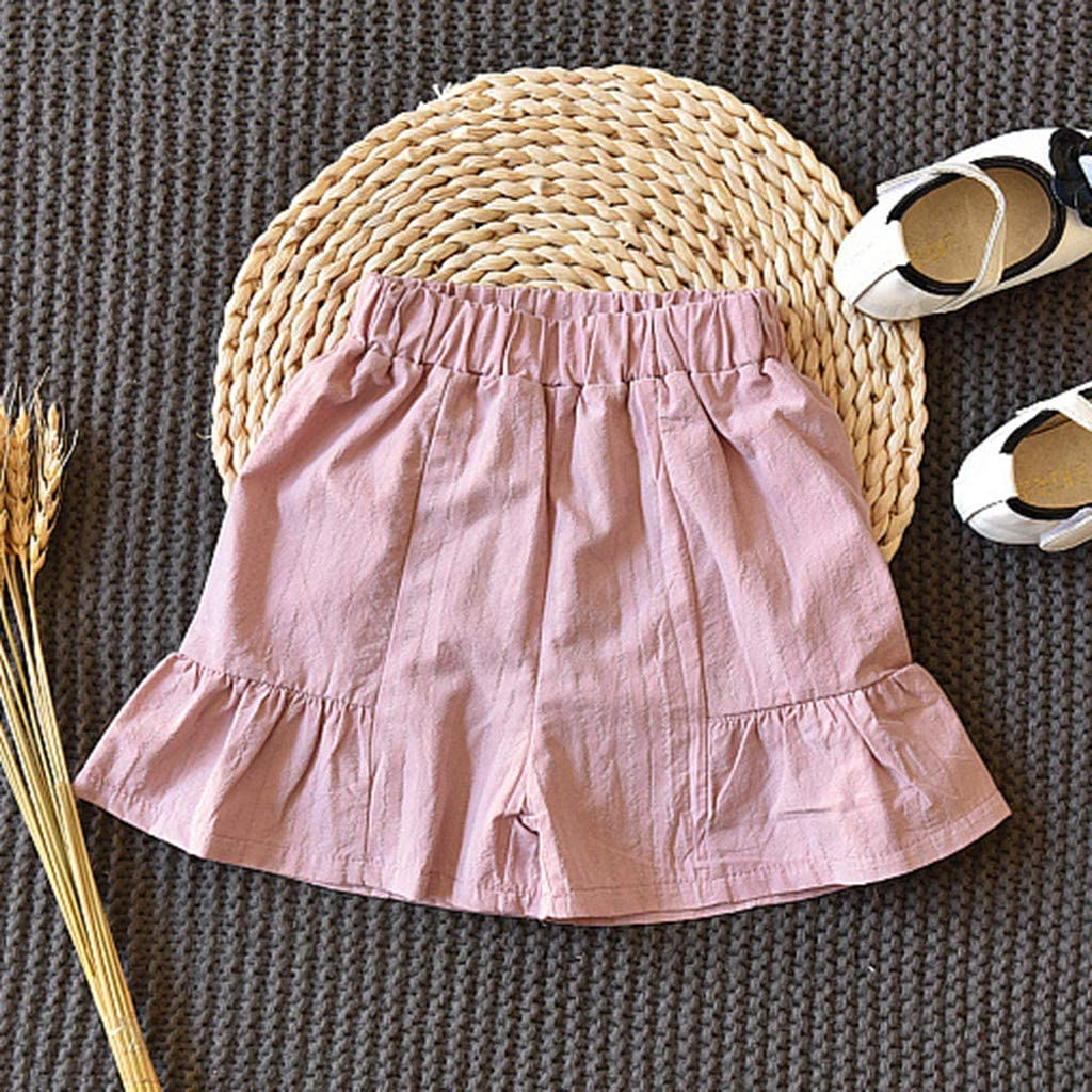 2 PCS Clothes Set for Infant Kids Girls 2-7 Years Old Ruched Short Sleeve Cute Cat Bowknot T-Shirt+Shorts Casual Set