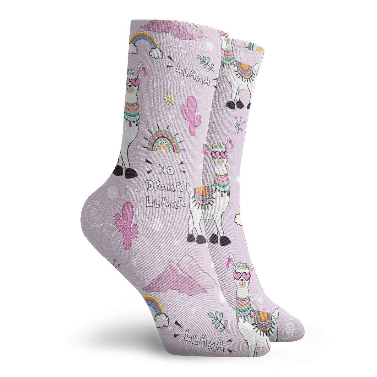 Women Men Cute Lama Pattern Cushion Crew Socks