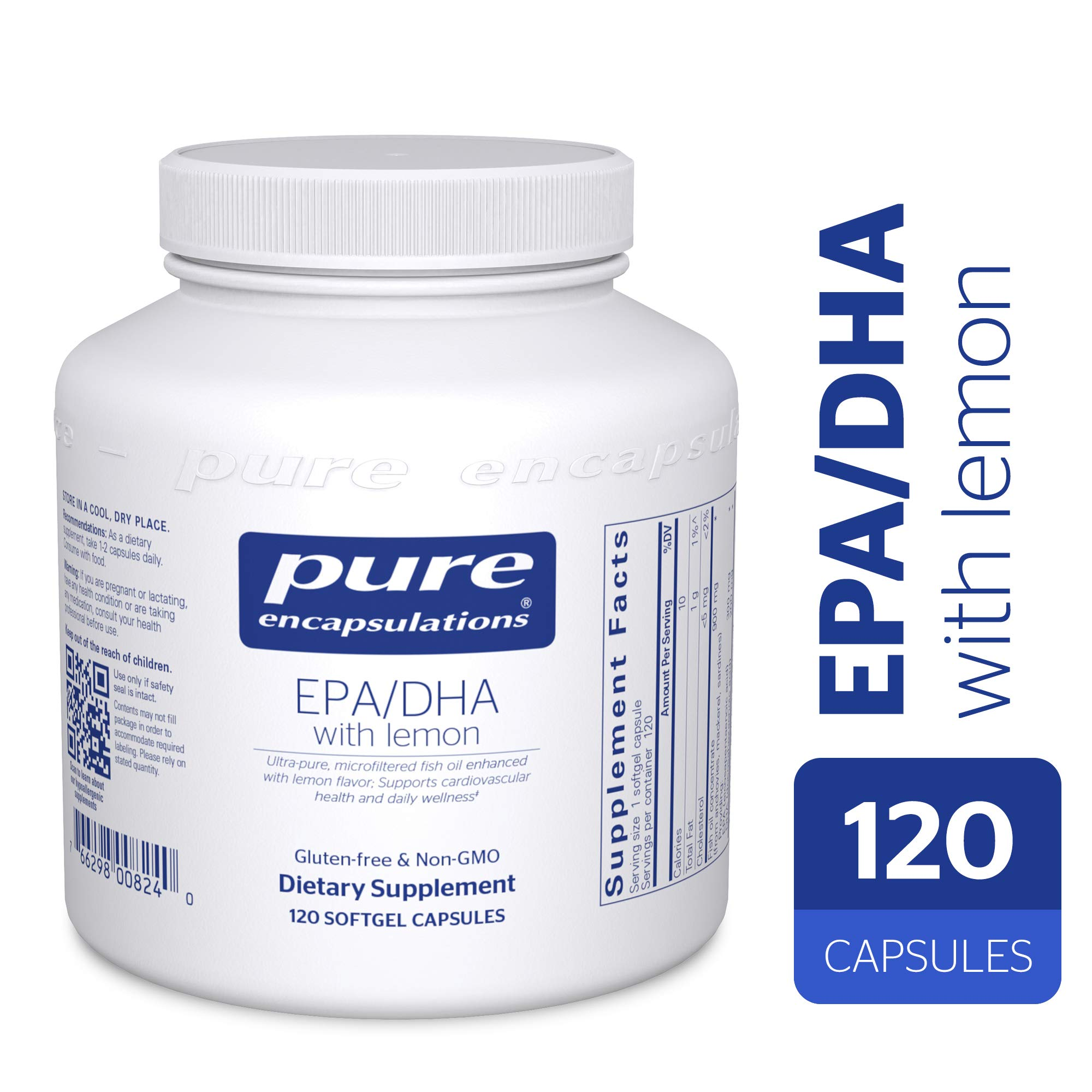 Pure Encapsulations - EPA/DHA with Lemon - Ultra-Pure, Molecularly Distilled Fish Oil Concentrate with Lemon - 120 Softgel Capsules by Pure Encapsulations