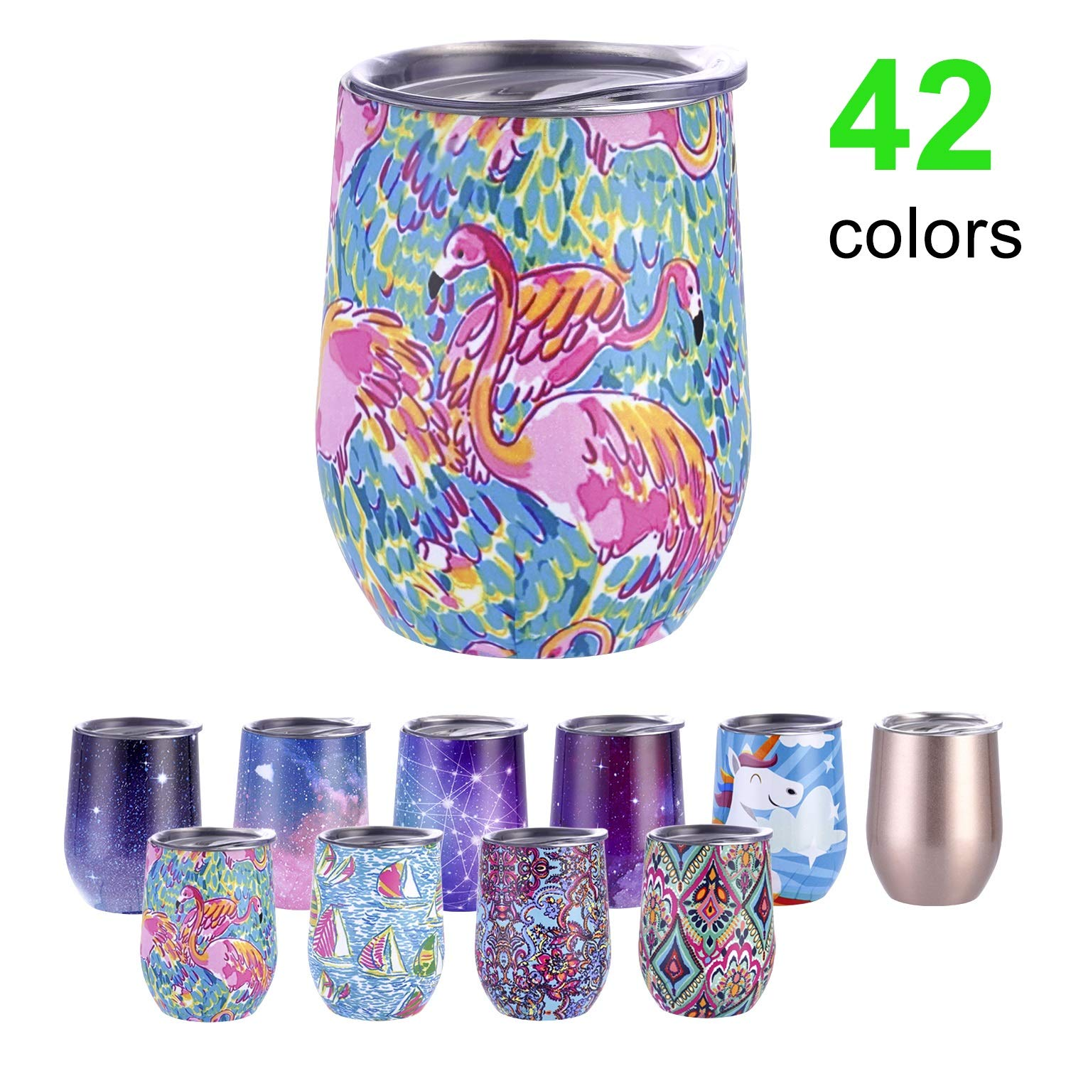 Insulated Wine Tumbler with Lid,12oz Stemless Stainless Steel Insulated Wine Glass,Double Vacuum Insulated Travel Tumbler Cup for Keeping Wine, Coffee, Drinks, Champagne, Cocktails