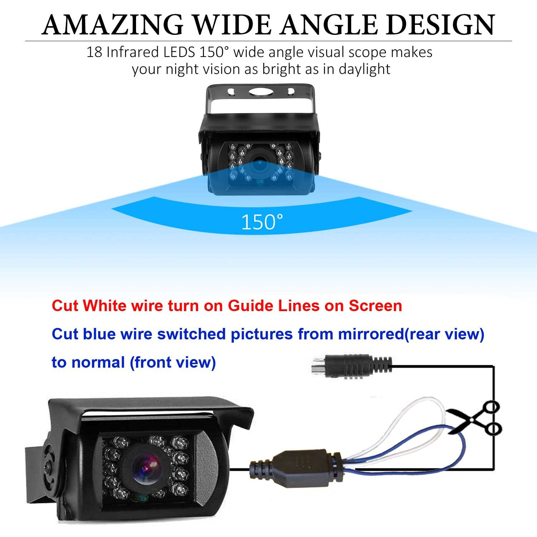 LeeKooLuu Dual Backup Cameras and 7 TFT Monitor Kit System for RV//Van//Trailer//Truck//SUV//Bus//Motorhome IP68 Waterproof Night Vision Plug to Cigaratte Lighter//Single Power