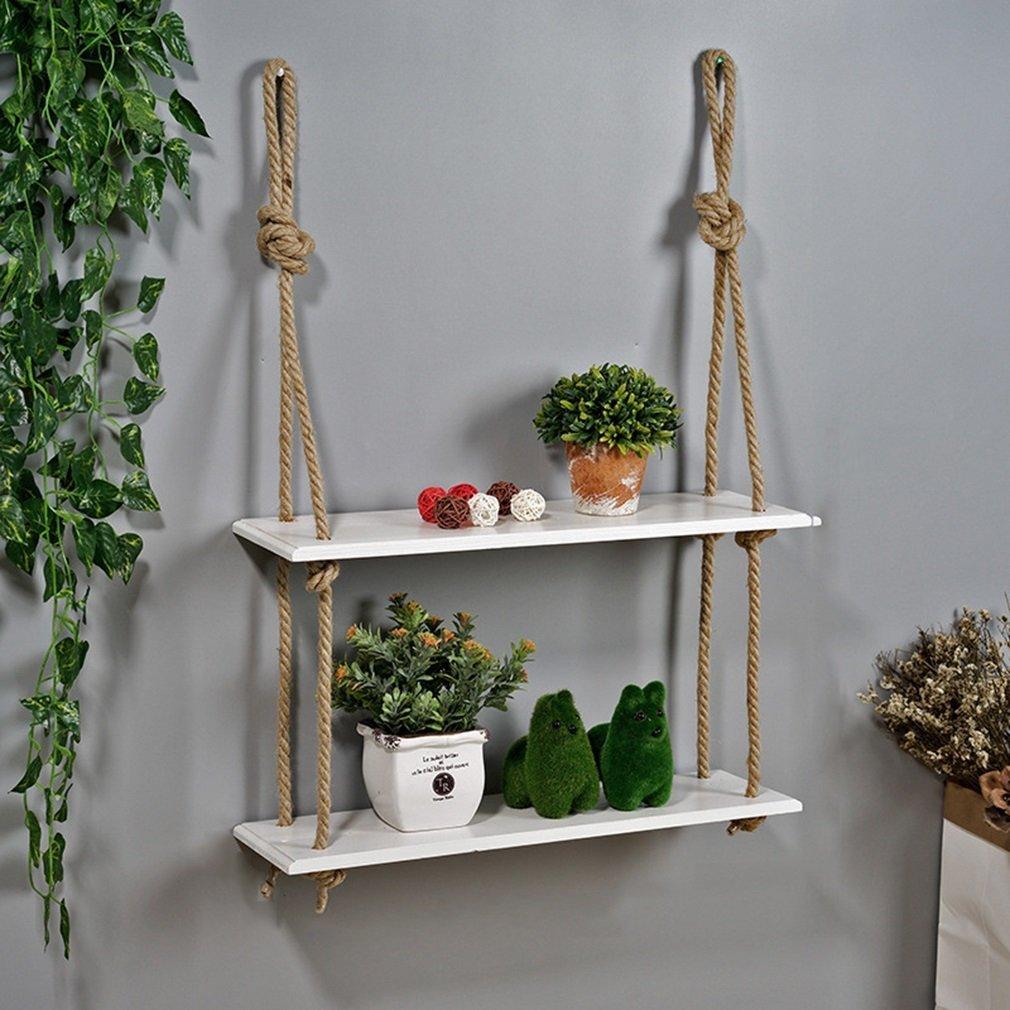 YCT 創造的な純木ロープの壁の装飾の棚の本棚の花の棚の壁掛け。棚 B07RLFPKHX