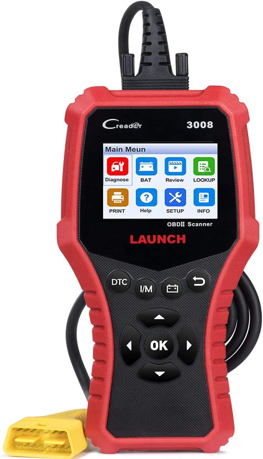 LAUNCH OBD2 Code Reader CR3008 for Full Obd2 Mode Scanner Print Diagnostic Report Check Engine Live Data I/M Readiness Smog Misfire Battery-Free Update