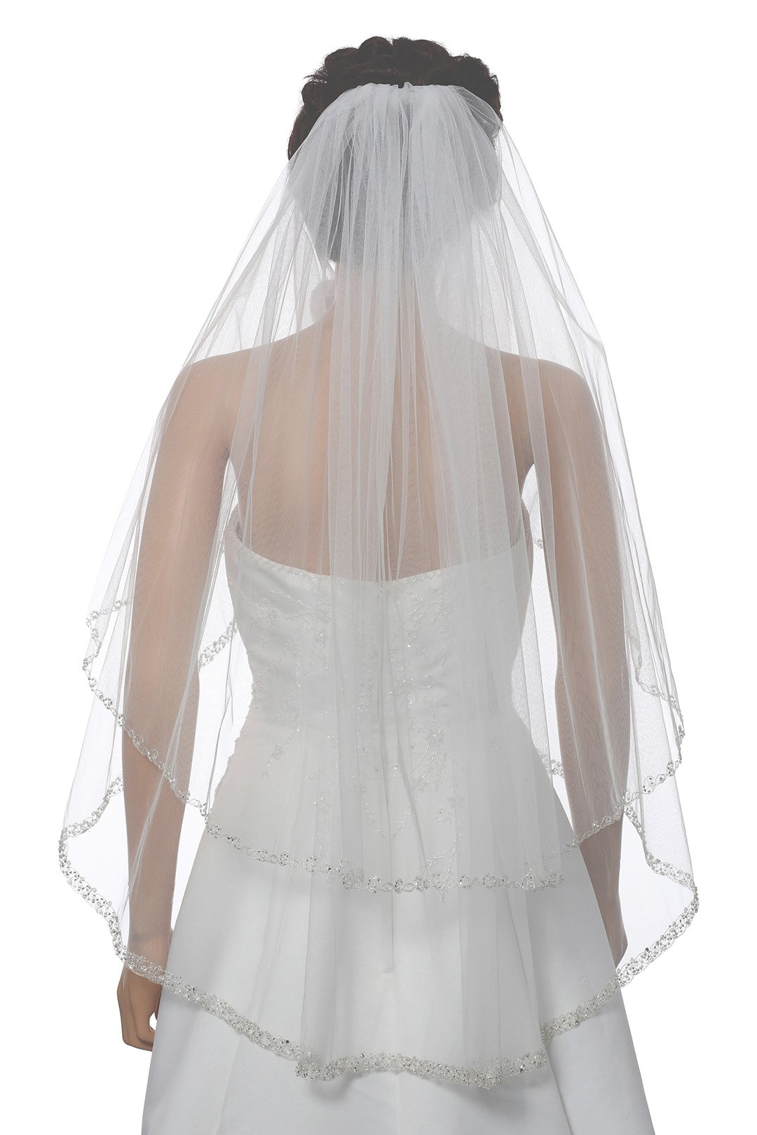 2T 2 Tier Dual Edge Embroided Pearl Crystal Beaded Veil - Ivory Fingertip Length 36'' V453