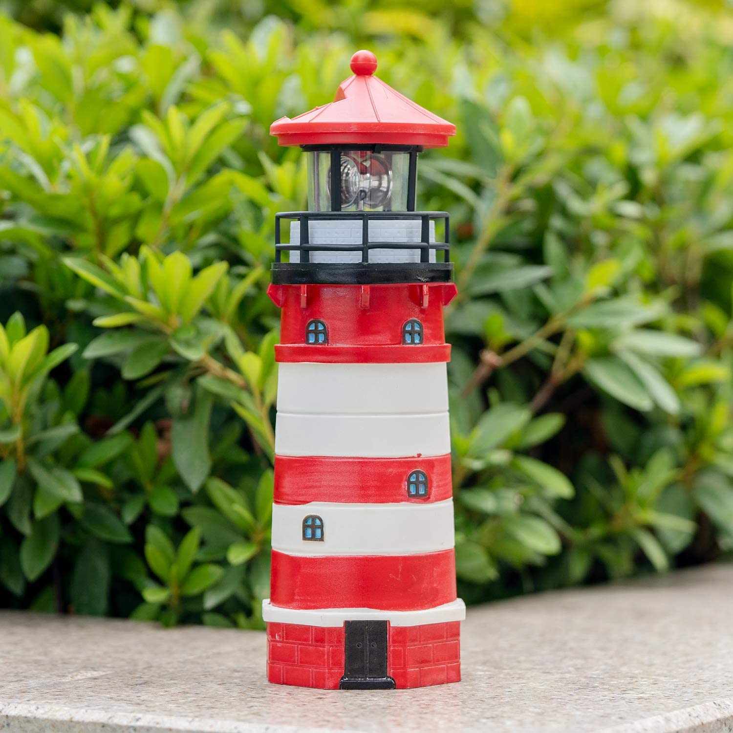 Garden Solar Lights Outdoor Decorative - Lighthouse with Rotating Beacon LED Lights for Garden Patio Lawn (Red)