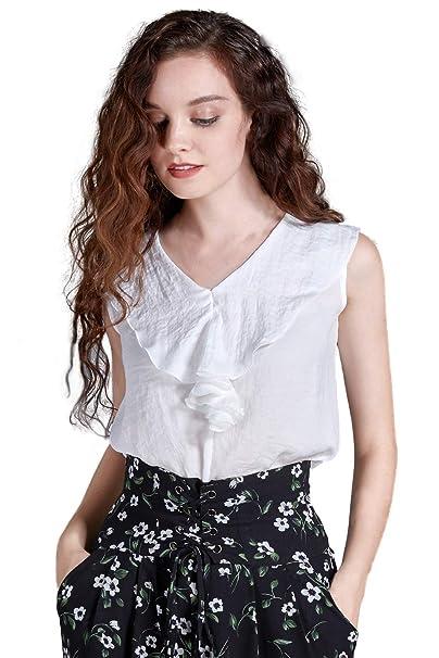 2a7fa9b6c1acd Artka Women s Cropped Ruffled Collar Chiffon Blouse Sleeveless Shirt Summer  Top at Amazon Women s Clothing store