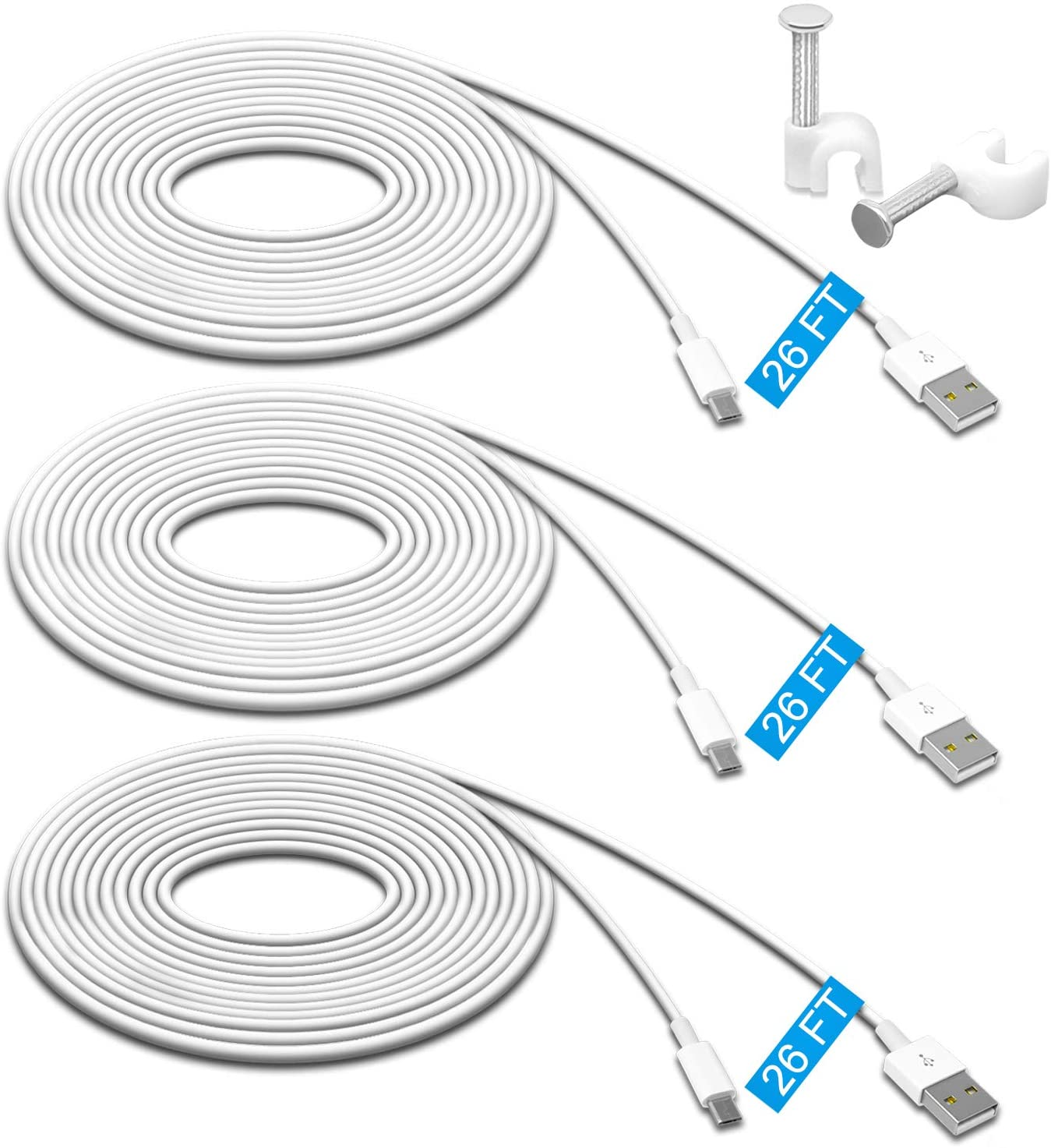 Micro USB Extension Cord for Zmodo 3-Pack Wyze Cam Cable 26ft