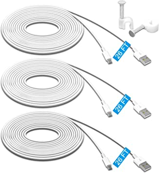 2 Pack 26FT Power Extension Cable Compatible with WyzeCam,Wyze Cam Pan,Yi Cam...