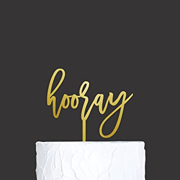 Rose Gold Hooray Candle Cake Topper Birthday Wedding Hen Party Cake Decoration