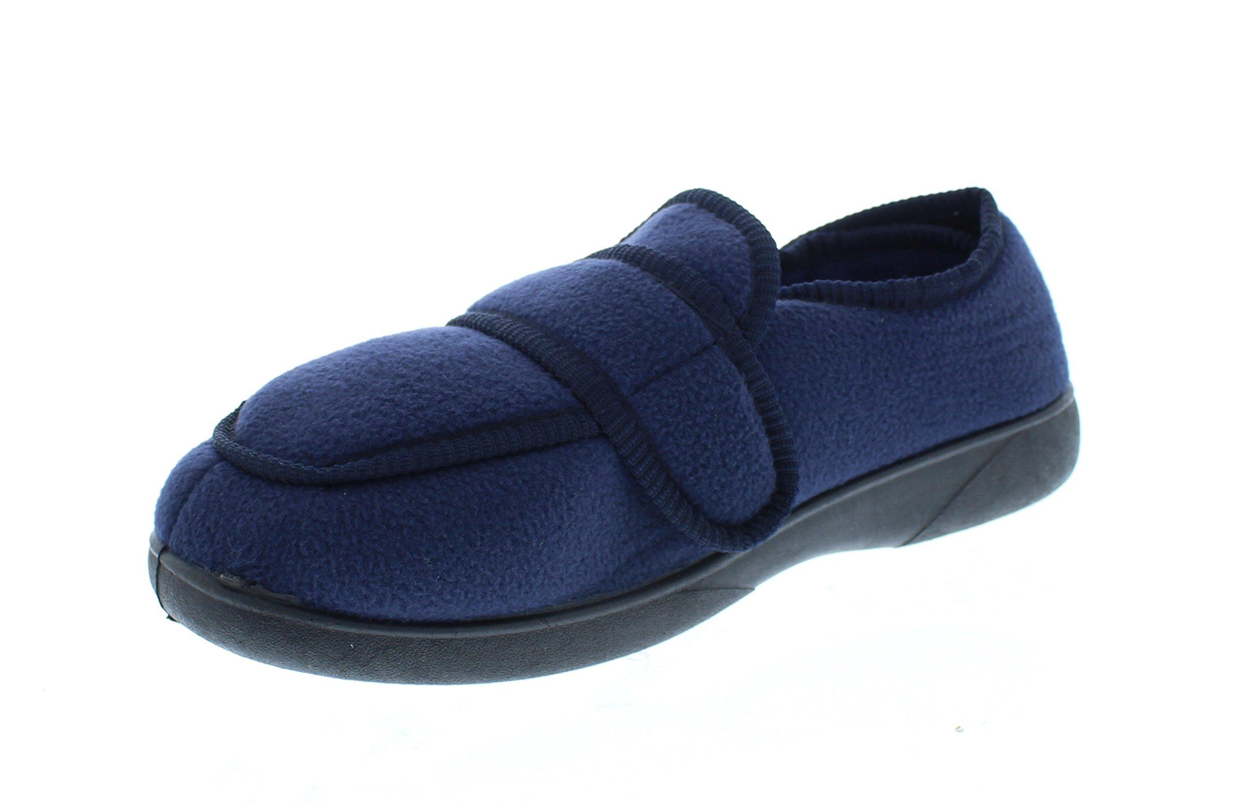 Gold Toe Jude Mens House Shoes Diabetes,Men's Orthopedic Edema Slipper,Eldery Houseshoes,Diabetic Footwear for Men Navy 10W