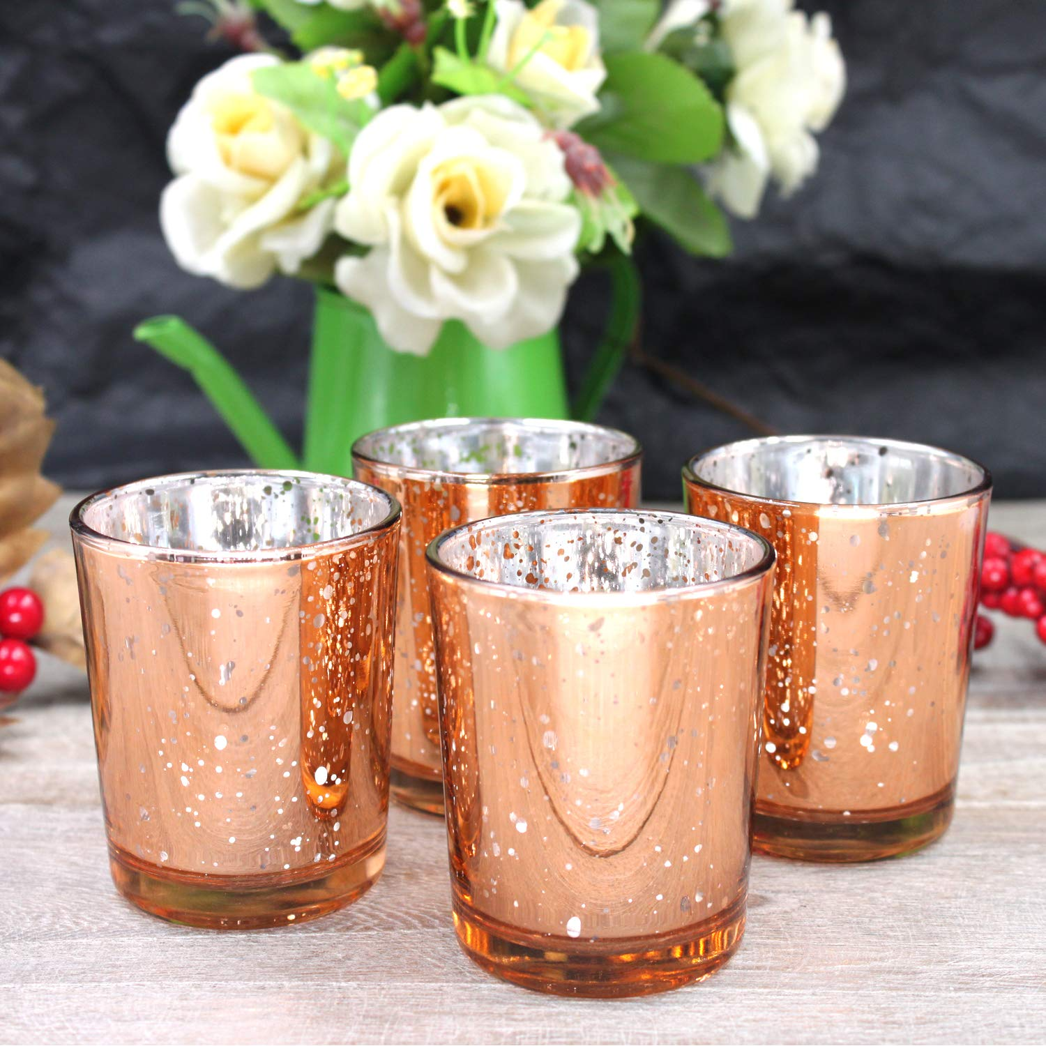Glass Votive Candle Holders 2.64 Inches H (Set of 12, Speckled Rose Gold) - For Use with Tealights, Parties, Weddings,Spa,Aromatherapy and Home Decor