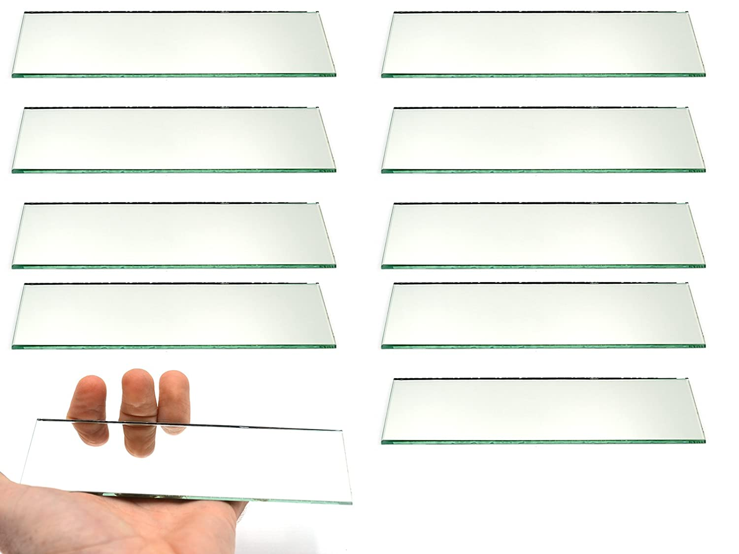 Pack of 10-6 x 2-2mm Thick Approx Eisco Labs Rectangular Plano Glass Mirror