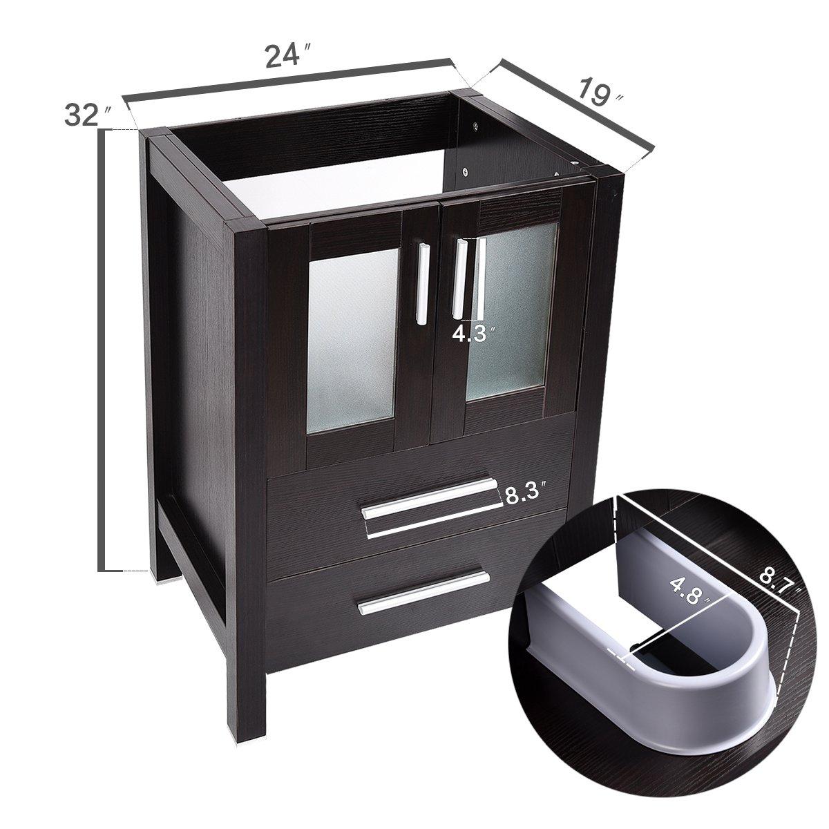 24-Inch Bathroom Vanity, Modern Stand Pedestal Cabinet, with Rectangle Ceramic Undermount Vessel Vanity Sink, Wood Black Fixture by PULUOMIS (Image #2)